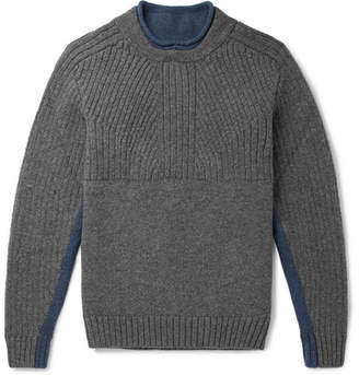 Inis Meáin Two-Tone Ribbed Merino Wool Sweater