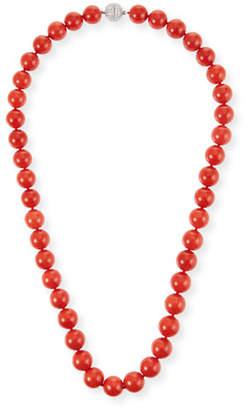Assael 18k Sardinian Coral Bead Necklace w/ Diamond Clasp, 9.4mm