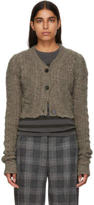 Acne Studios Brown Wool Cropped Cardigan
