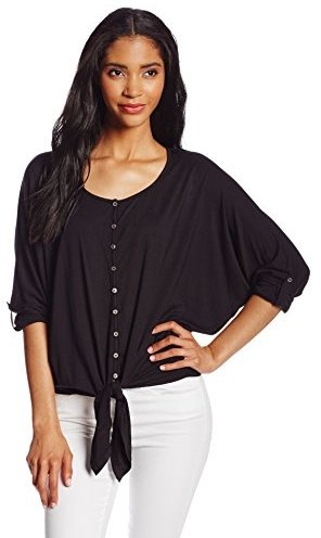 Chaus Women's 3/4 Sleeve Roll Tab Tie Front Top