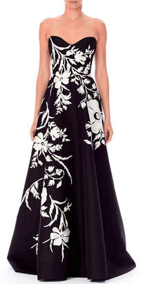 Carolina Herrera Strapless Sweetheart Threadwork Embroidered Gown