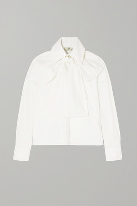 Fendi Pussy-bow Embroidered Cotton-poplin Blouse - White