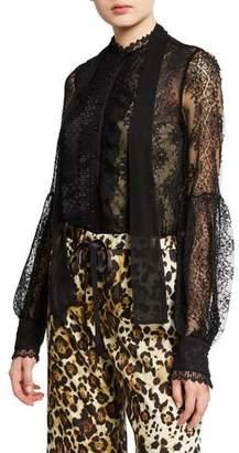 Alexis Charis Button-Front Lace Tie-Neck Top