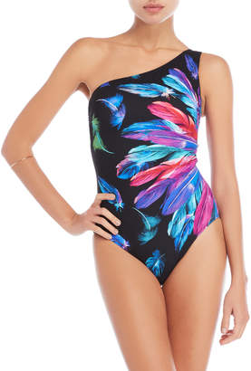 Gottex Feather One-Shoulder One-Piece Swimsuit