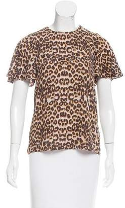 Rebecca Minkoff Leopard Printed Short Sleeve Top