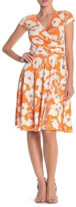 Maggy London Vintage Poppy Faux Wrap Cap Sleeve Dress