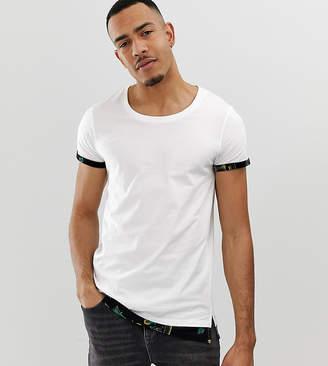 1e536c8b Asos Design DESIGN Tall relaxed longline t-shirt with bandana mock hem and  roll sleeve