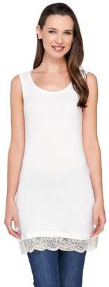 Logo By Lori Goldstein LOGO Layers by Lori Goldstein Straight Hem Knit Tank with Lace Trim