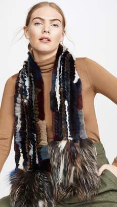 Adrienne Landau Knit Rex Rabbit Scarf With Fox Trim