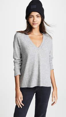 Monrow V Neck Thermal Sweatshirt