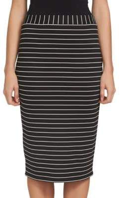 1 STATE 1.STATE Striped Midi Pencil Skirt
