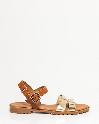 Le Château Metallic Leather Double Band Sandal