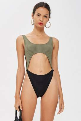 Topshop Split Middle Rib Swimsuit