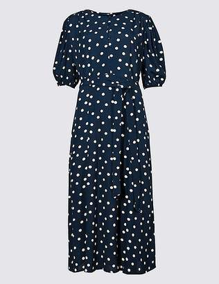 Marks and Spencer Spotted Half Sleeve Tea Midi Dress