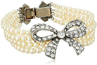 Ben-Amun Jewelry Pearl and Crystal Ribbon for Bridal Wedding Anniversary Bracelet