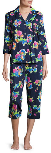 Lauren Ralph Lauren Lauren Ralph Lauren Printed Notch Collar Top and Capri Pants Pajama Set