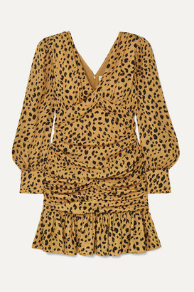 Nicholas Ruched Ruffled Leopard-print Silk-crepe Mini Dress - Leopard print
