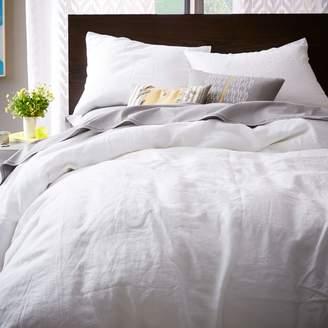 west elm Belgian Linen Duvet Cover - White