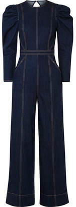 5ffdb32d678e Ulla Johnson Dawn Open-back Stretch-denim Jumpsuit - Dark denim