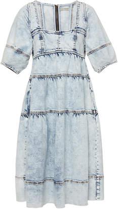 Ulla Johnson Devi Acid Wash Denim Midi Dress