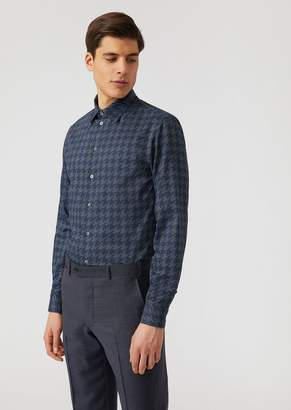 Emporio Armani Modern Fit Printed Cotton Shirt With Small Collar