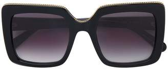 Stella McCartney Eyewear black oversized chain trim square sunglasses