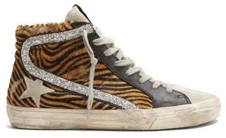 Golden Goose Slide High Top Leather Trainers - Womens - Brown Multi