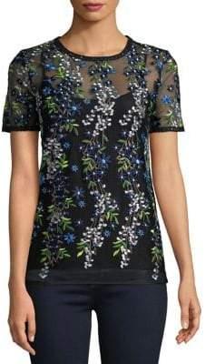 Elie Tahari Val Embroidered Overlay Top