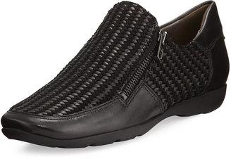 Sesto Meucci Gorgon Woven Zip Comfort Flat, Black $199 thestylecure.com