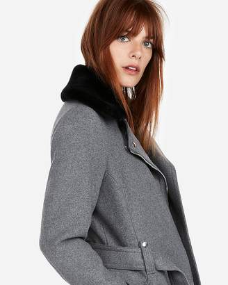 Express Short Faux Fur Collar Belted Wool-Blend Coat