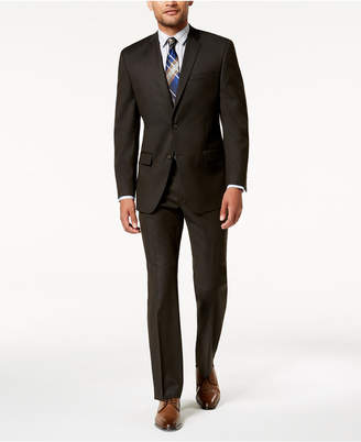 Andrew Marc Men's Modern-Fit Stretch Brown Solid Suit