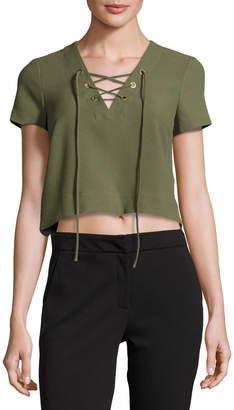 Catherine Malandrino Short-Sleeve Lace-Up Crop Blouse, Green