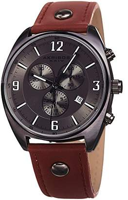 Akribos XXIV Men's Leather Watch - Brown Strap and Gunmetal Dial - Multifunction