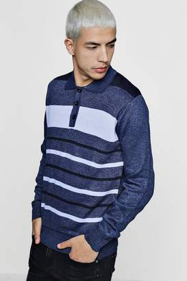 boohoo Colour Block Long Sleeve Knitted Polo