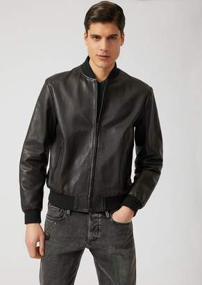 Emporio Armani Vegetable-Tanned Nappa Leather Jacket With Debossed Logo
