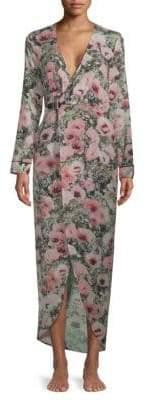 Fleur Du Mal Georgette Floral Silk Wrap Robe