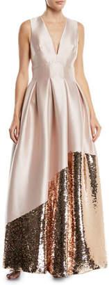 Sachin + Babi Kara Ball Gown w/ Asymmetric Sequin Trim