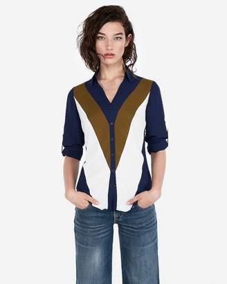 Express Slim Color Block Chevron Portofino Shirt