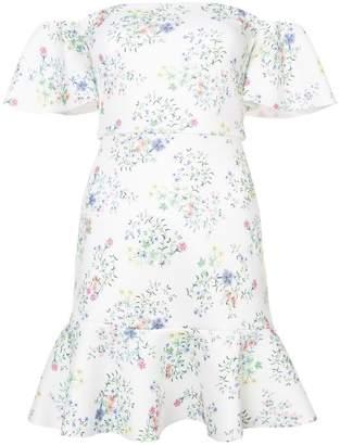 Saloni floral print off the shoulder dress