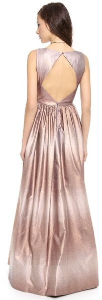 Alice + Olivia Caddie Flare Open Back Gown
