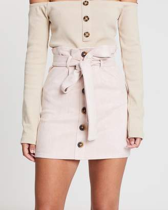 Missguided Faux Suede Paper Bag Waist Mini Skirt