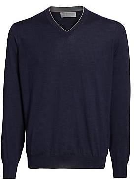 Brunello Cucinelli Men's Wool& Cashmere V-Neck Pullover