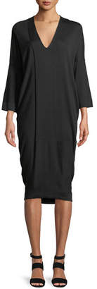 Urban Zen V-Neck 3/4 Sleeve Jersey Midi Dress