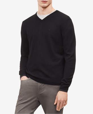 Calvin Klein Men Solid Extra-Fine Merino V-Neck Sweater