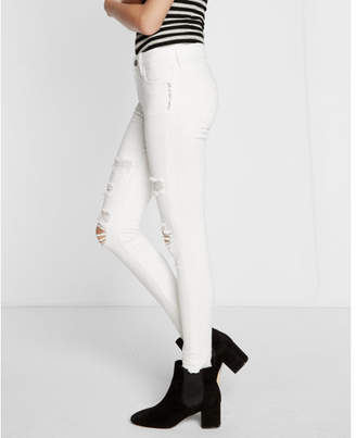 Express mid rise released hem white ankle jean legging $88 thestylecure.com