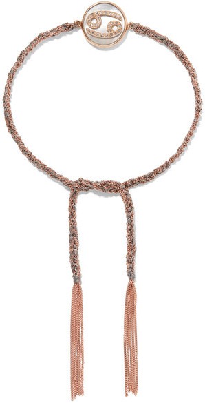 Carolina BucciCarolina Bucci - Cancer Lucky Zodiac 18-karat Rose Gold, Diamond, Mother-of-pearl And Silk Bracelet - one size
