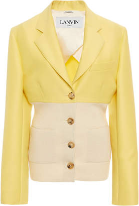 Lanvin Cotton-Silk Ribbed-Knit-Paneled Blazer Size: 36