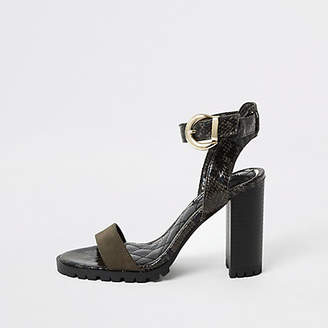 River Island Khaki embossed cleated block heel sandal