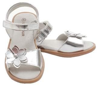 IM Link Silver Flower Ankle Strap Spring Sandals Shoes Toddler Little Girl 8-4