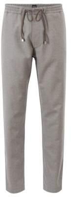 BOSS Hugo Relaxed-fit pants in virgin-wool flannel 28R Grey